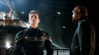 Chris Evans and Nick Fury in Captain America: The Winter Soldier