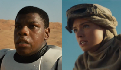 John Boyega and Daisy Ridley appear in the teaser for Star Wars: Episode VII - The Force Awakens