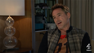 Robert Downey Jr walked out of an interview with Channel 4 News when promoting Avengers: Age of Ultron