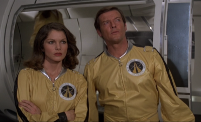 Bond joins forces with the amusingly named Dr Goodhead in Moonraker